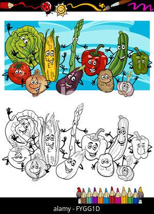 Cartoon Comic-Gemüse für Malbuch Vektor Abbildung - Bild: 64653959 ...