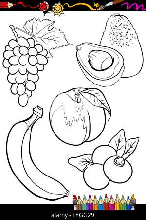 Schwarz / Weiß Cartoon Illustration der Avocado-Frucht-essen-Objekt ...