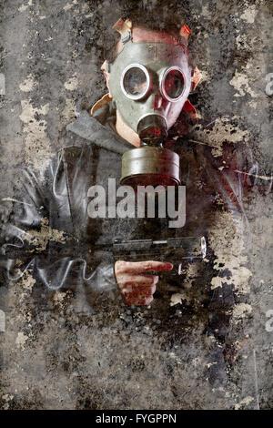 Künstlerische Portrait mit strukturierten Hintergrund, Mann bewaffnet mit Gasmaske - Stockfoto