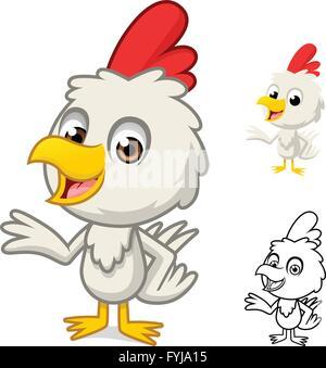 Kleines Huhn mit vorliegenden Hand-Cartoon-Figur sind durch flache Bauform und skizziert Version Vektor-Illustration - Stockfoto