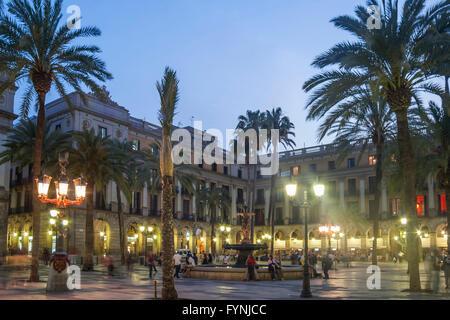 Placa Reial, Piazza Real, Plaza Reial, Royal Plaza, Barri Gotic, Barcelona, Katalonien, Spanien - Stockfoto