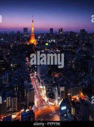 Stadtbild mit Tokyo Tower beleuchtet in der Dämmerung, Minato, Tokio, Japan - Stockfoto
