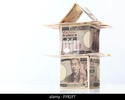 Haus aus der japanischen Yen-Banknoten - Stockfoto