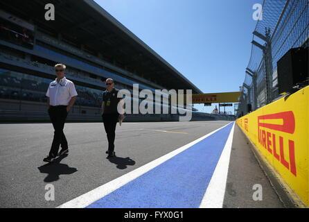 Sotschi, Russland. 28. April 2016. Das Sochi Autodrom-Rennstrecke vor 2016 Formel 1 russische Grand Prix. Bildnachweis: - Stockfoto