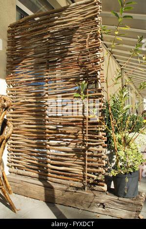 Flechtwerk mit Haselnuss-Zweige - Stockfoto