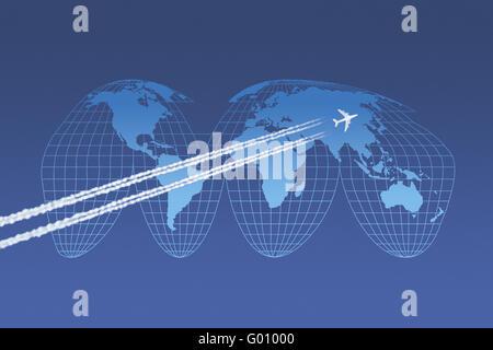 Flugzeuge vor einer Weltkarte in Goode-Projektion