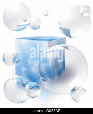 Um die Box mit blauem Himmel Seifenblasen - Stockfoto