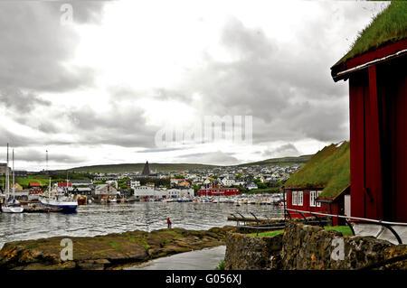 Hafen von den Färöer-Inseln Thorshavn - Stockfoto