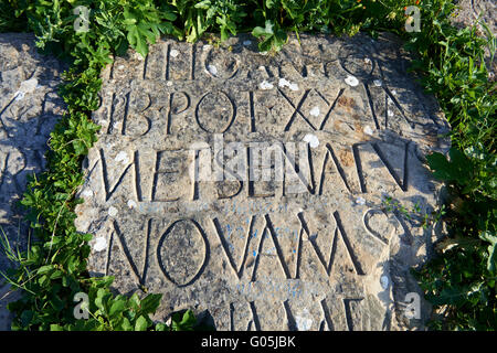 Lateinische Inschrift auf einem römischen Stein. Ausgrabungsstätte Volubilis, in der Nähe von Meknès, Marokko - Stockfoto