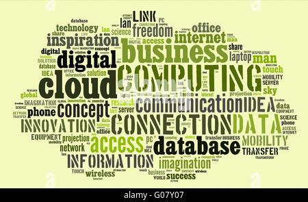 Cloud-computing-Piktogramm auf grünem Hintergrund - Stockfoto