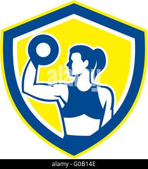 Frau heben der Hantel Gewicht körperliche Fitness Retro - Stockfoto