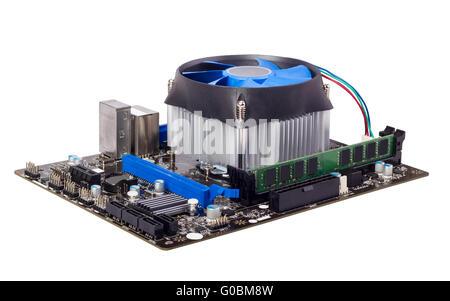 Computer Motherboard isoliert auf weißem Hintergrund - Stockfoto