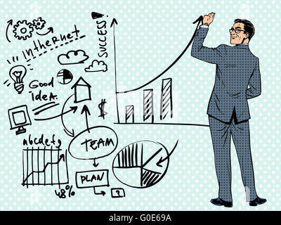 Geschäftsmann Zeichnung Geschäftskonzept des Erfolgs