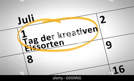 Tag der kreativen Eis Creme erste Juli in deutscher Sprache Stockfoto