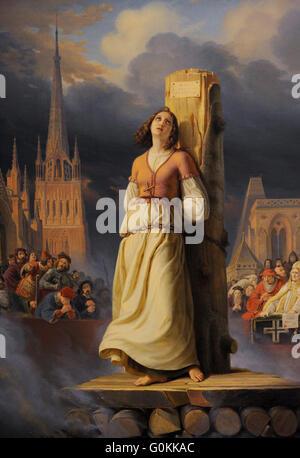 Hermann Anton Stilke (1803-1860). Deutscher Maler. Jeanne d ' Arcs Tod auf dem Scheiterhaufen (rechten Teil des - Stockfoto