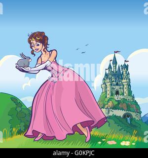 Vektor-Cartoon-Illustration einer Prinzessin hält ein Kaninchen mit einem Fantasie-Schloss im fernen Hintergrund. - Stockfoto