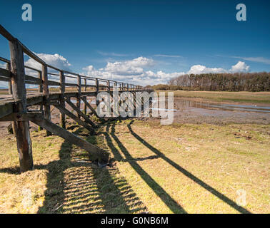 Holzsteg am Longniddry auf den Firth of Forth Edinburgh Schottland - Stockfoto