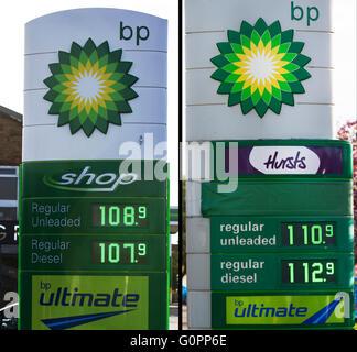 Southport, Merseyside, England 4. Mai 2016.  Garage Kraftstoff Preisunterschied 1 Meile auseinander. Die Kosten - Stockfoto