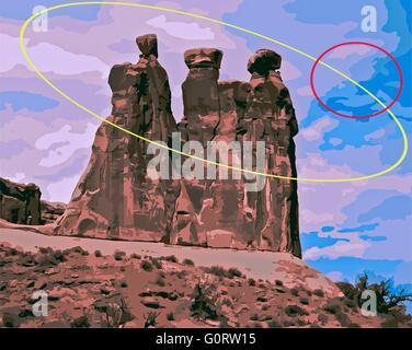 Drei Schwätzer, Arches Nationalpark Felsformationen, mit Blick auf Landschaft mit farbigen Kreise Linien. - Stockfoto