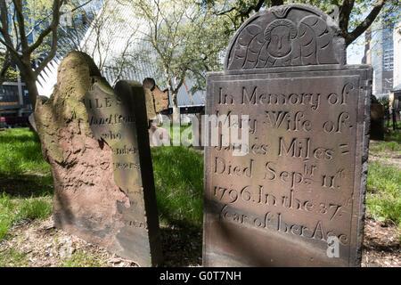 Friedhof von St. Pauls Kapelle, Lower Manhattan, NYC, USA - Stockfoto