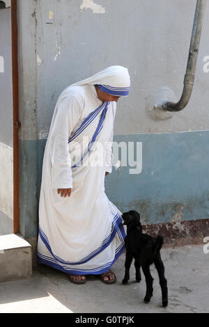 Mutter Teresa Schwester gerupft aus eine schwarze Ziege auf Kleidungsstück, Kalkutta, Indien - Stockfoto