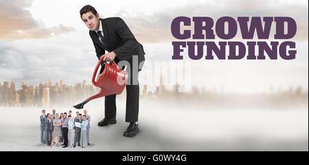 Zusammengesetztes Bild das Wort Crowdfunding auf weißen Hintergrund - Stockfoto