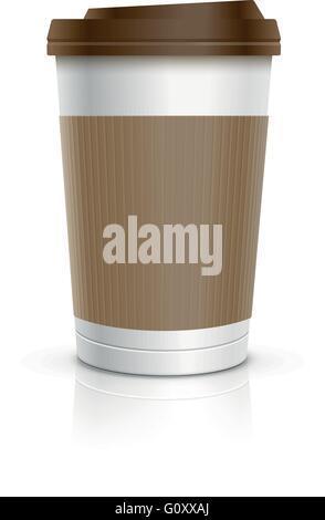 Einweg-Kaffeetasse. Vektor-Illustration. - Stockfoto