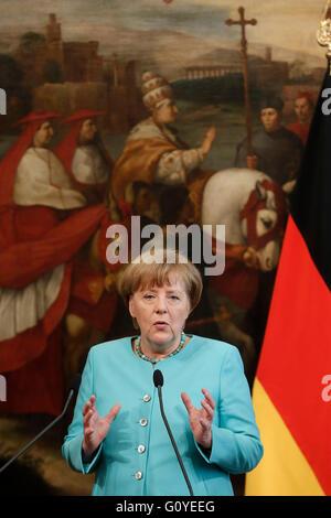 Rom, Italien. 5. Mai 2016. Angela Merkel Rom 5. Mai 2016. Italienische Premier trifft die Bundeskanzlerin. Samantha - Stockfoto