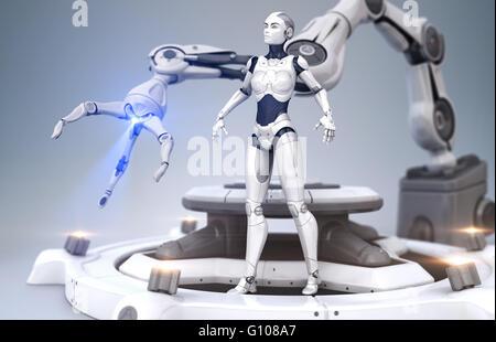 Sci-Fi-Roboter und Roboter-arm - Stockfoto