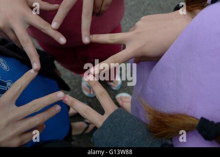 Kinder Finger einen Star - Stockfoto