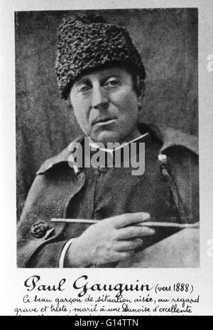 Porträt von Gauguin im Jahre 1888. Eugène Henri Paul Gauguin (7. Juni 1848 - 8. Mai 1903) war eine französische - Stockfoto