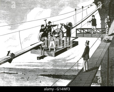 Flechten die Tragseile. Die Brooklyn Bridge ist eine der ältesten Hängebrücken in den Vereinigten Staaten. 1883 - Stockfoto