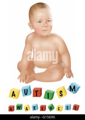 Konzeptionelle Darstellung der ein Kind mit Autismus. - Stockfoto