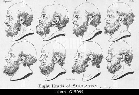 Acht Profile von Sokrates. Sokrates (469-399 v. Chr.) war ein klassischer griechischer Athener Philosoph. Als einer - Stockfoto