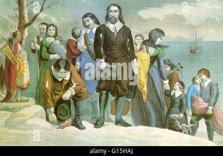 """Bildunterschrift lautet: """"Die Landung der Pilger in Plymouth, Massachusetts am 22. Dezember 1620."""" Die """"Mayflower"""" - Stockfoto"""