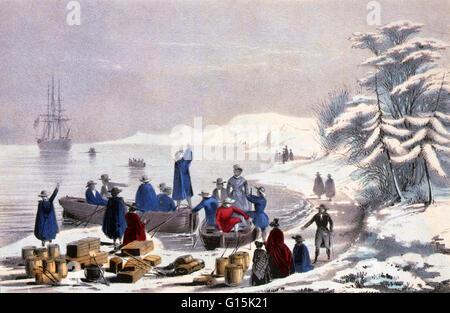 Lithographie mit dem Titel: die Landung der Pilger auf Plymouth Rock, 11. Dezember 1620. Plymouth Rock ist der traditionelle - Stockfoto