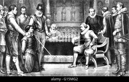 Guy Fawkes (13 April 1570 - 31. Januar 1606), AKA Guido Fawkes, verhört, vor seinem Prozess von James I und seinen - Stockfoto