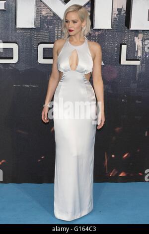 London, UK. 9. Mai 2016. Jennifer Lawrence, globale Fan Screening-Gala der X-MEN Apokalypse am BFI IMAX in London. - Stockfoto