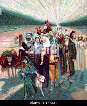 Einer der dreizehn Lithographien mit Szenen aus dem alten Testament biblische Geschichten über Moses Leben. Die - Stockfoto