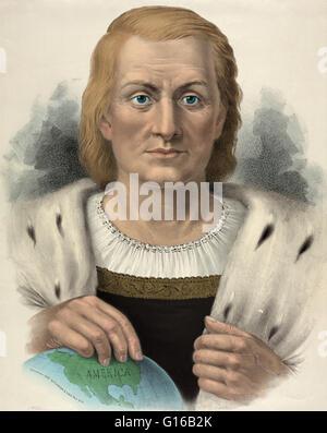 Porträt von Christopher Columbus (Oktober 30 oder 31, 1451 - 20. Mai 1506) italienische Entdecker, Kolonisator und - Stockfoto