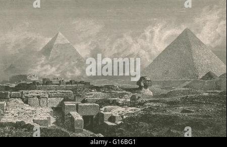 """Bildunterschrift: Die Pyramiden und die Sphinx. 1878. """"the Giza Necropolis (Pyramiden von Gizeh) ist eine archäologische - Stockfoto"""