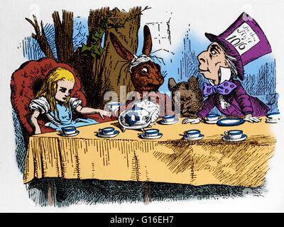 Alice im Wunderland auf der Mad Hatter Tea Party Stockfoto, Bild ...