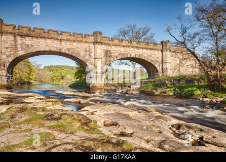 Barden-Brücke über den River Wharfe, Bolton Abbey Estate, Yorkshire Dales National Park, North Yorkshire, England, - Stockfoto