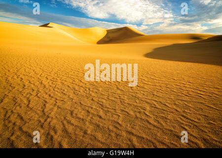Sanddünen bei Sonnenaufgang in der Wüste - Stockfoto