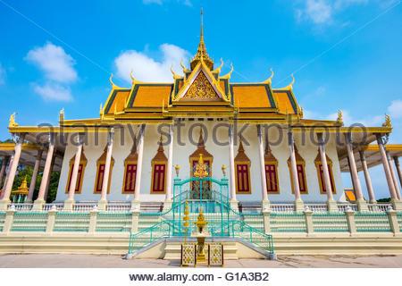 Der Silber-Pagode (Wat Preah Keo Morakot), Königspalast, Phnom Penh, Kambodscha - Stockfoto