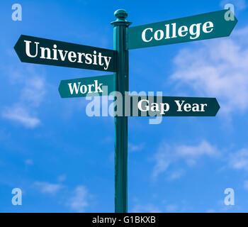 Anmelden Übersicht Schulabgänger Optionen zwischen Universität, Studium, Beruf zu wählen und sich eine Lücke. - Stockfoto