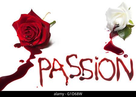 Blutungen, Rosen und das blutige Wort Leidenschaft - Stockfoto