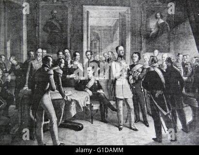 Dresden-Konferenz (23. Dezember 1850, 16. Mai 1851) erfolgte nach der preußischen Demütigung bei der Zeichensetzung - Stockfoto