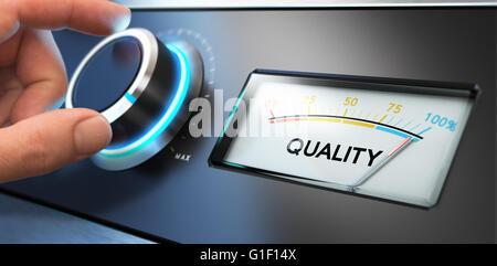 Image Compositing zwischen Fotografie und 3D Hintergrund. Hand einen Drehknopf mit einem Zifferblatt auf der rechten - Stockfoto