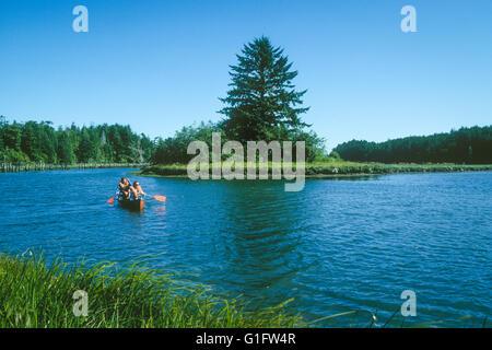 Paar-Vogelbeobachtung vom Kanu im Süden Slough Mündungs Nationalreservat, Charleston, Oregon Küste. - Stockfoto